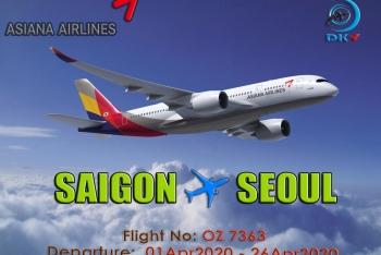 HÃNG ASIANA AIRLINES VẪN KHAI THÁC BAY HÀNH TRÌNH SAIGON - INCHEON