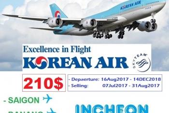 KOREAN AIR KHUYẾN MẠI ĐI HÀN QUỐC GIÁ VÉ 210USD