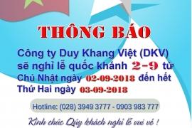 DKV THÔNG BÁO NGHỈ LỄ QUỐC KHÁNH 02-09-2018